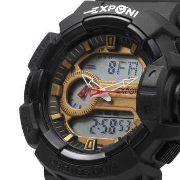 EXPONI 3227 Imported Movement Outdoor Sports Digital Quartz Watch -  GOLDEN