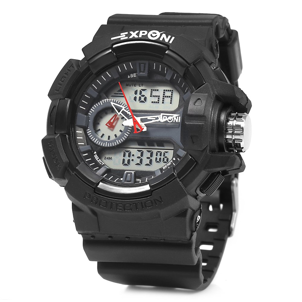 EXPONI 3227 Imported Movement Outdoor Sports Digital Quartz Watch, Black