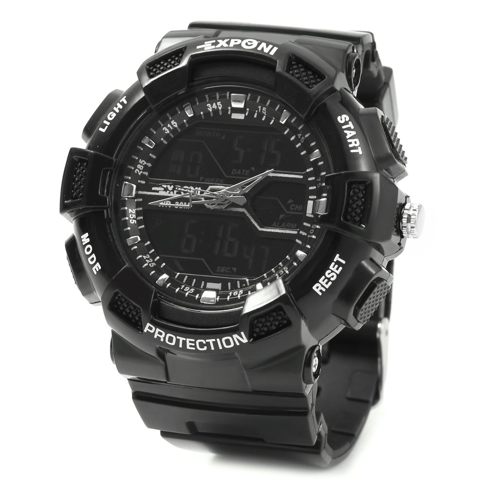 EXPONI 3230 Imported Movement Outdoor Sports Digital Quartz Watch, Black