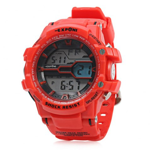 EXPONI 3205 Imported Movement Outdoor Sports Digital Watch - RED