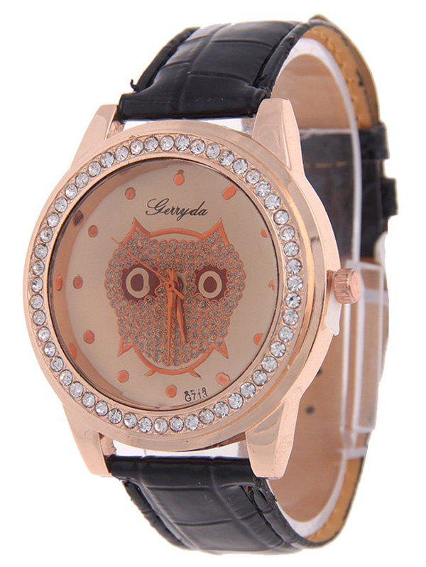 Cute Rhinestoned Owl Watch - BLACK