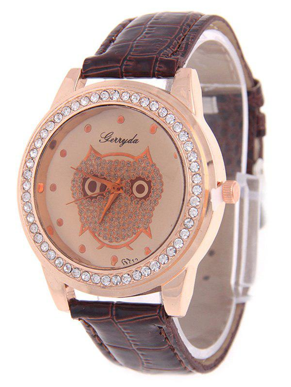 Cute Rhinestoned Owl Watch - COFFEE