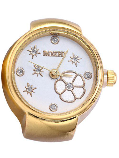 Trendy Rhinestone Floral Ring Watch - GOLDEN