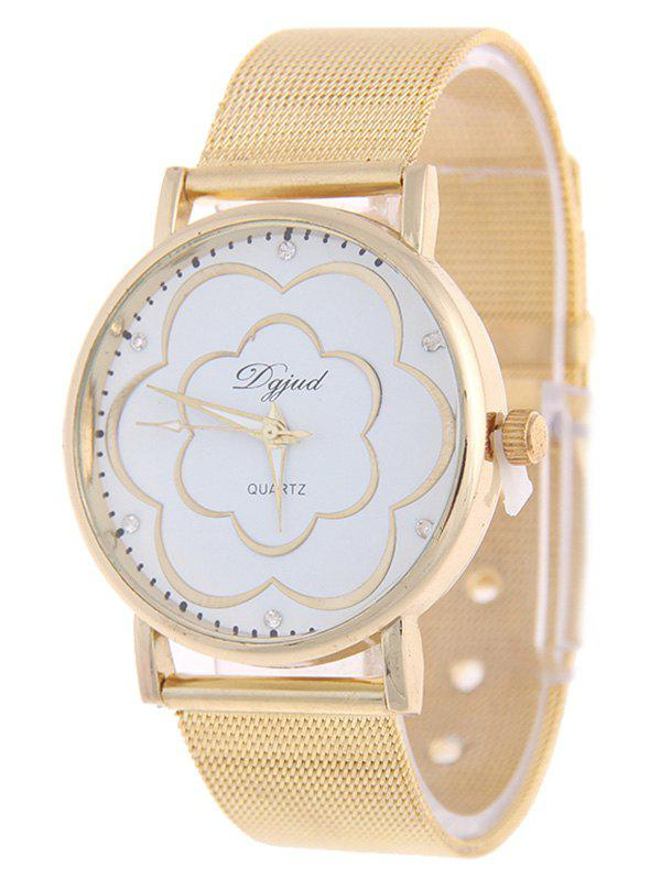 Graceful Rhinestone Flower Watch - GOLDEN