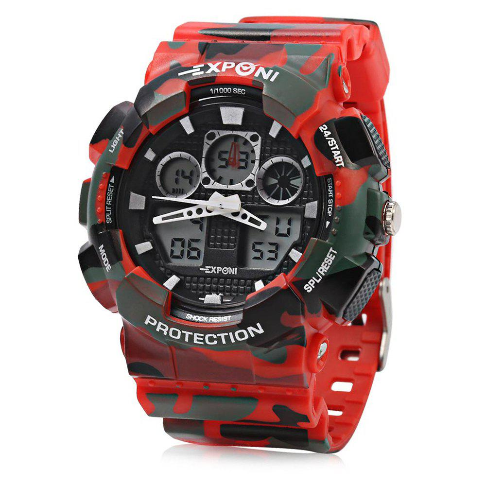 EXPONI 3169 Imported Movement Outdoor Sports Digital Quartz Watch - RED