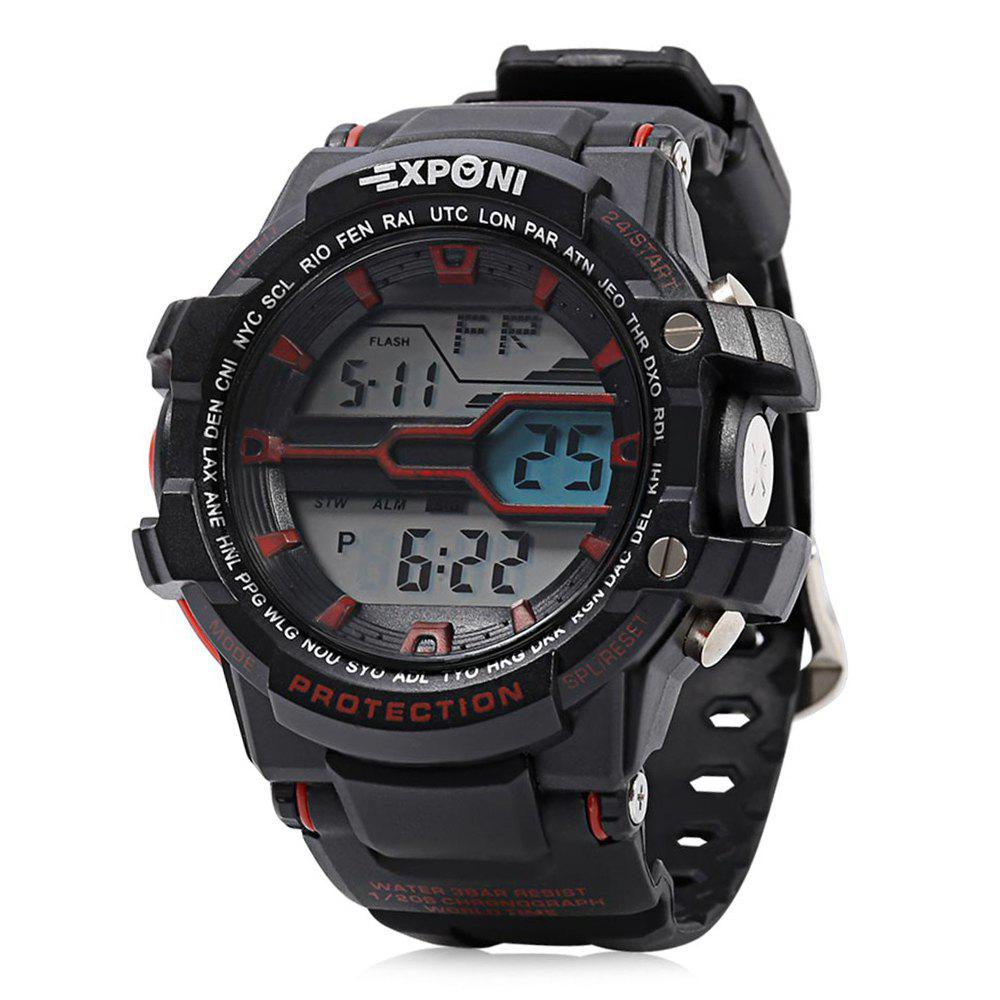 EXPONI 3205 Imported Movement Outdoor Sports Digital Watch, Red with black