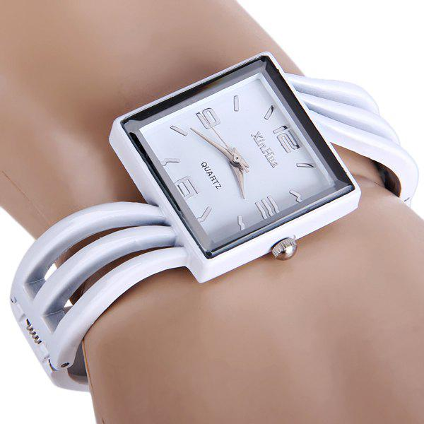 Xinhua 757 Quartz Watch Bracelet Rectangle Dial Steel Band for Ladies - WHITE
