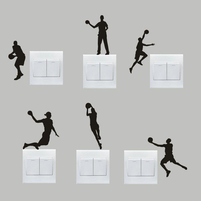 6pcs DIY Basketball Removable Wall Switch Sticker Home DecorationHome<br><br><br>Color: BLACK