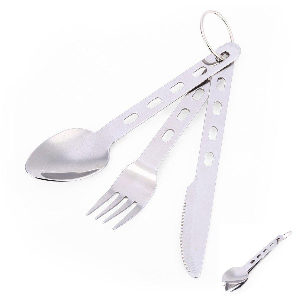 3-piece Stainless Steel Tableware with Ring Fork / Spoon / Knife - SILVER