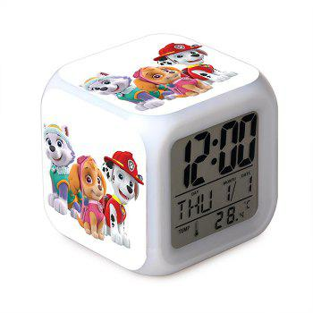 Cartoon Style Digital Alarm Clock 7 Color Change LED Glowing Present