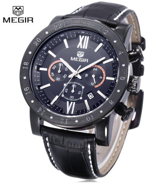 MEGIR 3008 30M Water Resistance Male Quartz Watch with Date Display Luminous Pointer Leather Band - BLACK LEATHER BLACK