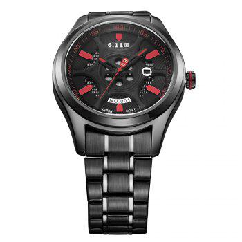 6.11 GD001 Photoelectric Conversion Male Watch Japan Movt Mineral Glass Calendar Display -  RED/BLACK
