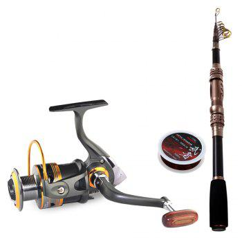 3-piece Fishing Tackle 94.5 inch Telescopic Carbon Fiber Fish Rod + Reel + 100m Line