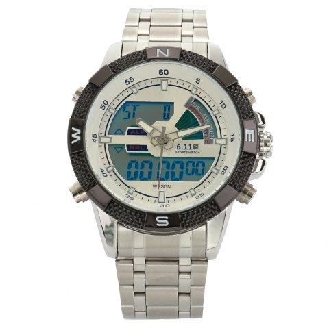 6.11 8156 Male Sports Digital Quartz Watch with Japan Movement - WHITE