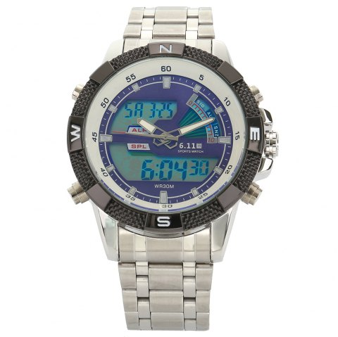 6.11 8156 Male Sports Digital Quartz Watch with Japan Movement - BLUE/WHITE