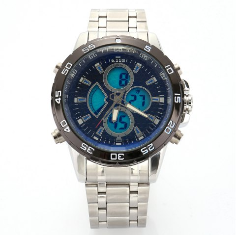 6.11 8157 Three Scales Men Sports Digital Quartz Watch with Luminous Dial - BLUE