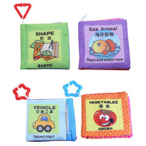 Baby Chinese English Russian Cloth Book Early Development Toy - 4pcs / set - COLORMIX