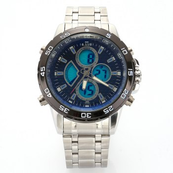 6.11 8157 Three Scales Men Sports Digital Quartz Watch with Luminous Dial - BLUE BLUE
