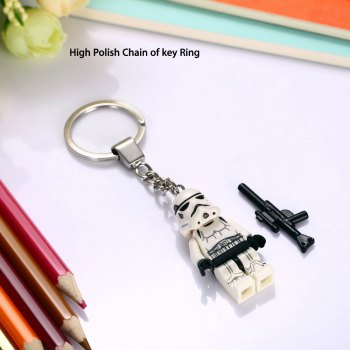 Alloy + Plastic Key Chain Hanging Pendant Warrior Style Keyring Movie Product for Decoration -  WHITE
