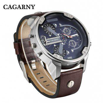 Cagarny 6820 Date Function Male Quartz Watch Double Movt Wristwatch with Decorative Sub-dials Leather Strap - SILVER / BROWN