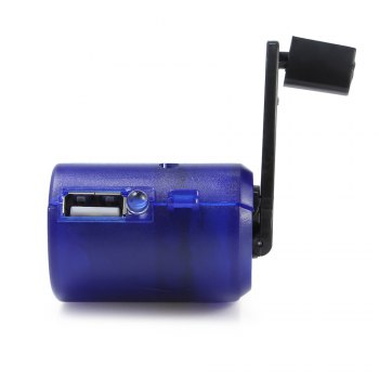 Portable Emergency USB Hand-cranking Manual Dynamo Charger for Mobile Phone - SAPPHIRE BLUE