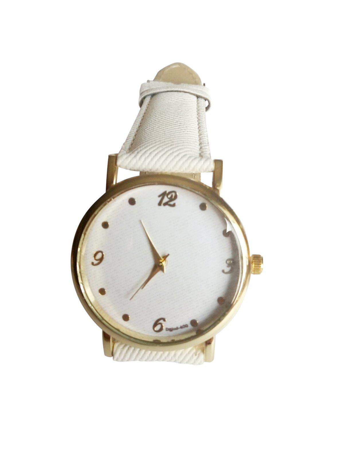 Cute Denim Strap Watch For Women - WHITE
