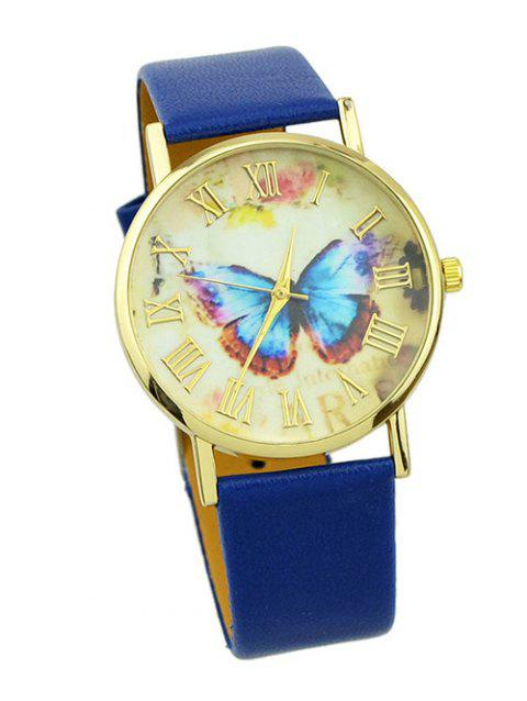 PU Leather Butterfly Roman Numerals Watch - BLUE