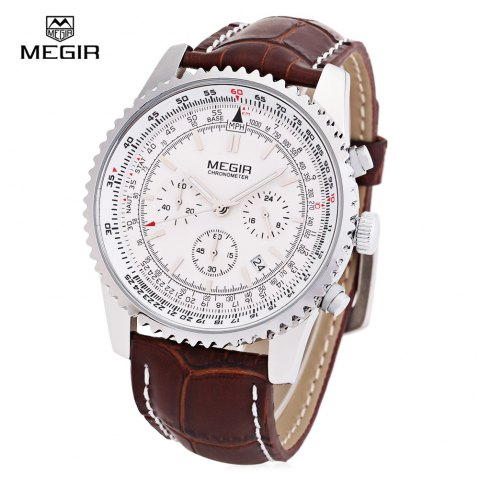 MEGIR 2009 Leather Strap 30M Water Resistant Male Japan Quartz Watch with Date Display - BROWN LEATHER WHITE
