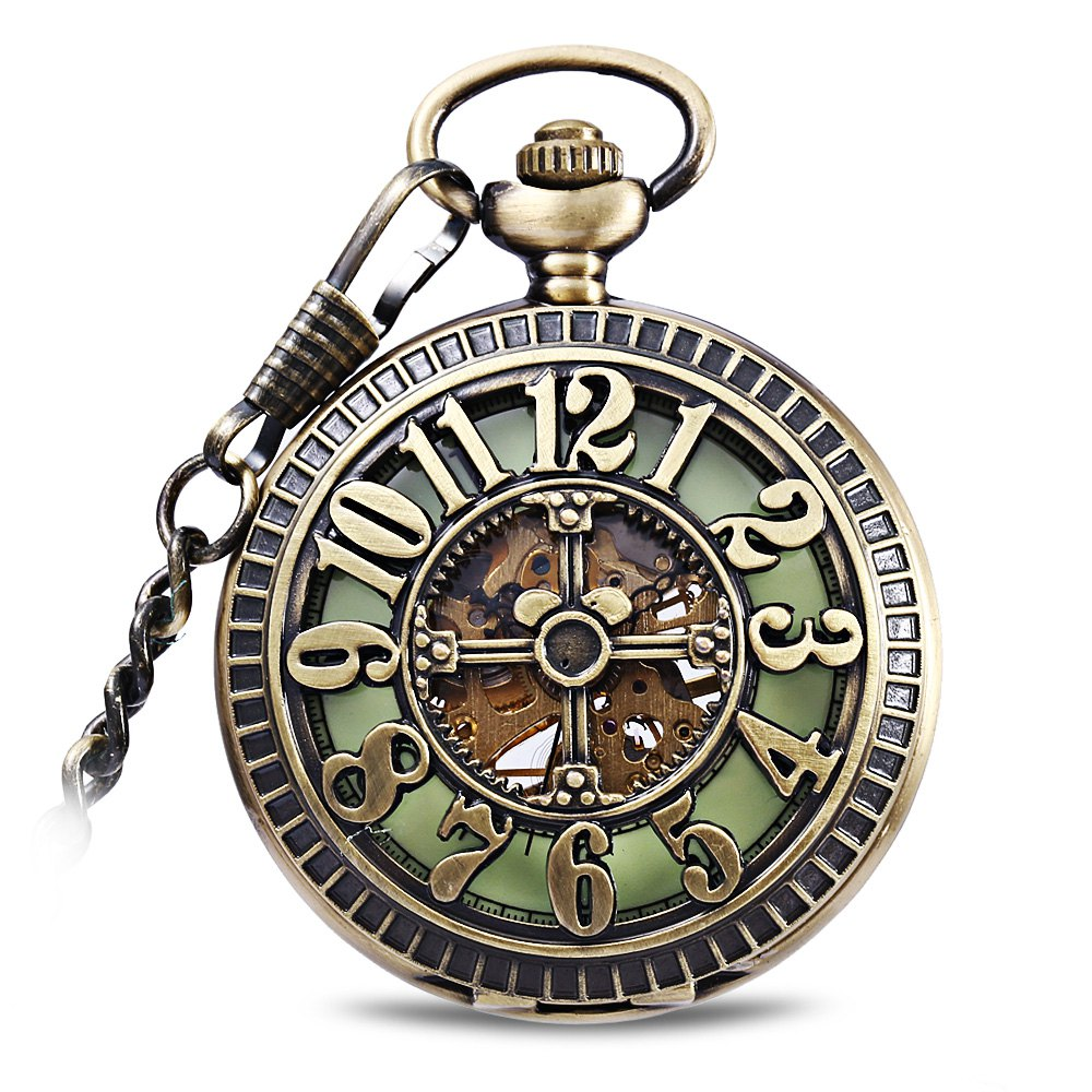 Flip Mechanical Watch Pocket Watches Hollow-out Style - COPPER COLOR