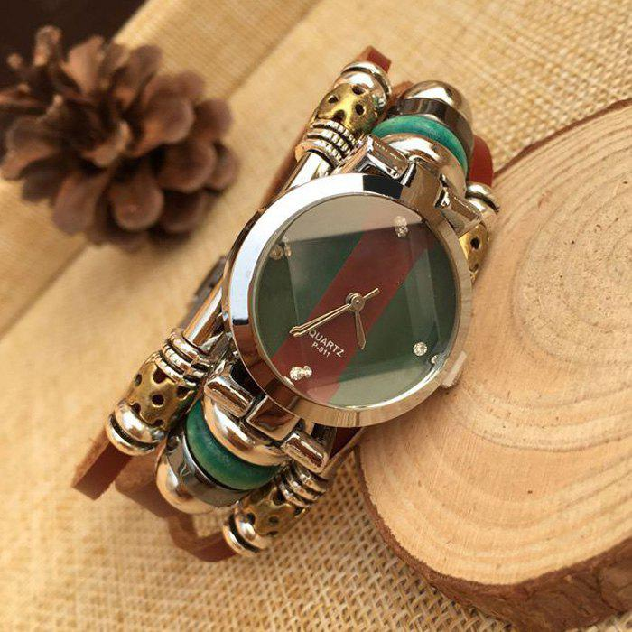pqsz p-011 Leather Band Women Beads Quartz Watch