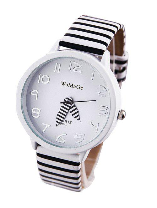 Chic Stripe Pattern Watch For Women - WHITE