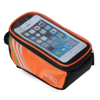 B - SOUL YA0207 1.8L Water Resistant 5.7 inch Touch Screen Bicycle Front Tube Bag -  ORANGE RED