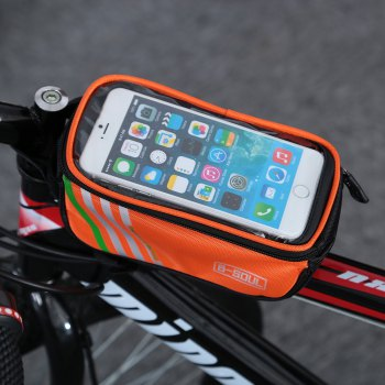 B - SOUL YA0207 1.8L Water Resistant 5.7 inch Touch Screen Bicycle Front Tube Bag - ORANGE RED ORANGE RED