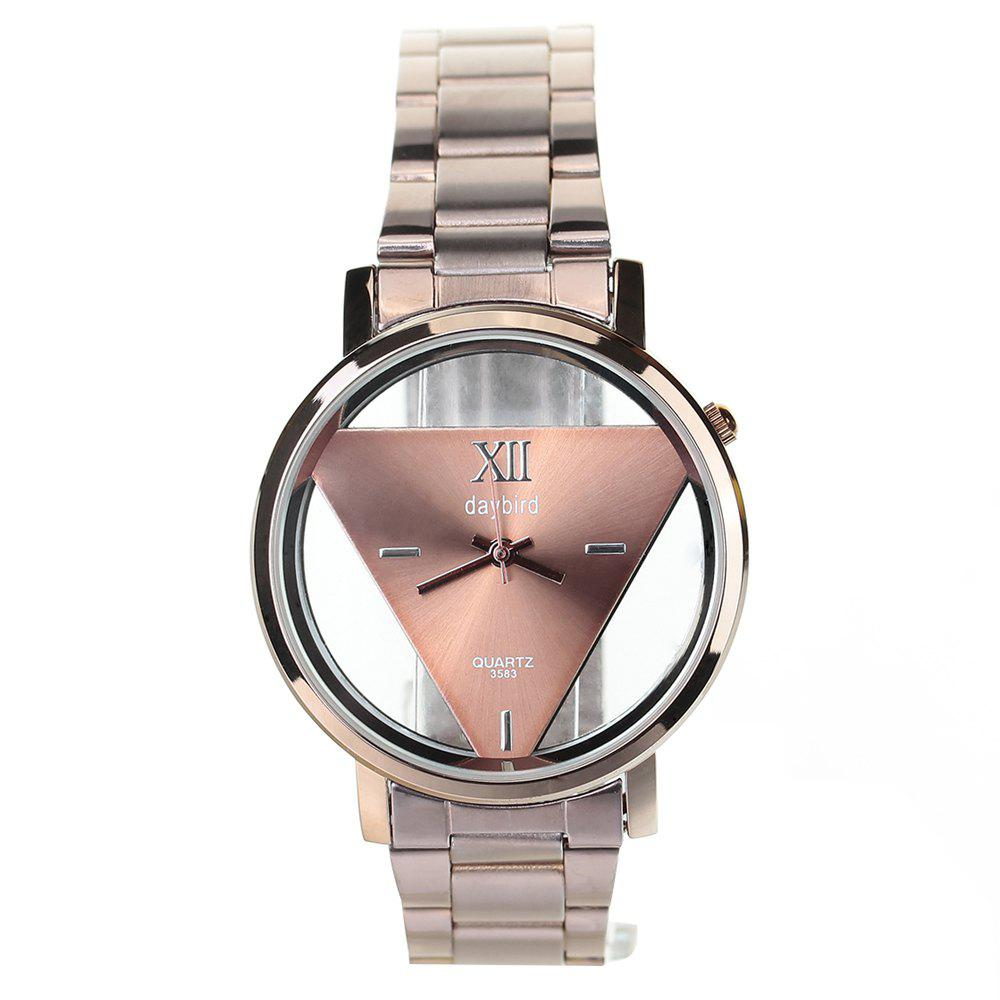 Daybird 3583 Transparent Dial Men Quartz Watch Triangle Design - ROSE GOLD