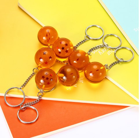 7pcs Silicone Star Ball Key Chain for Hobbyist Collection - GOLDEN