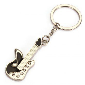 Stylish Rhinestone-decorated Guitar Shape Key Chain