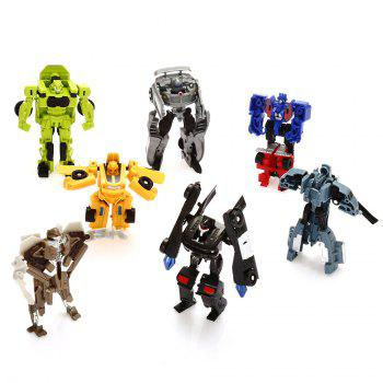 Plastic Changeable Cartoon Action Figure Building Block Intelligence Toy for Kid - 7pcs / set