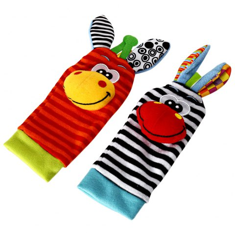 Baby Infant Soft Rattle Sock Foot Finder - 1pair - COLORMIX