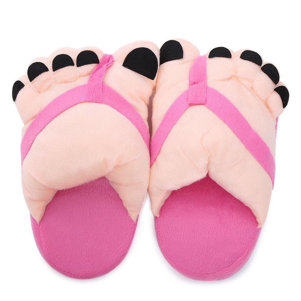 Soft Plush Cute Big Feet Pattern Winter Slippers - RANDOM COLOR
