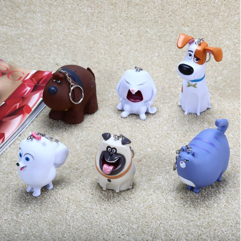6pcs Cute Animal Shape Key Chain for Decoration Collection Role-playing - COLORMIX
