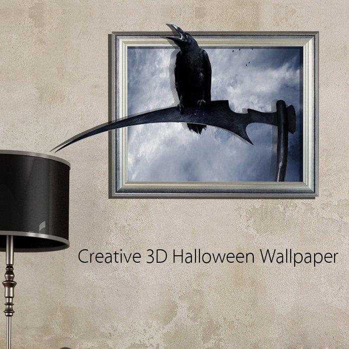 3D Crow Removable Wall Sticker Creative Halloween Gift crow haunted house halloween wall tapestry