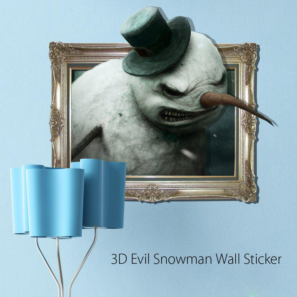 3D Evil Snowman Removable Wall Sticker Creative Halloween Gift - COLORMIX