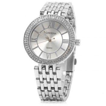 contena GENEVA Business Style Diamond Round Dial Female Quartz Watch