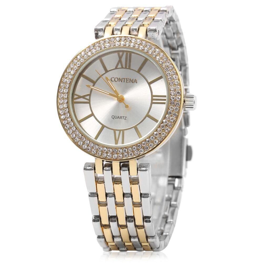 contena GENEVA Business Style Diamond Round Dial Female Quartz Watch - SILVER/GOLDEN