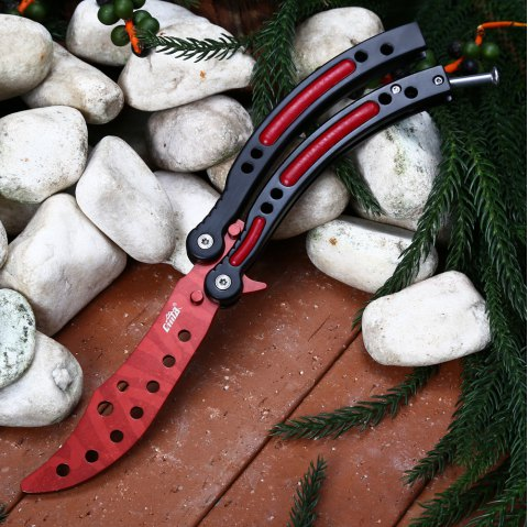 CIMA HR001 Foldable Training Tool Unedged Blade Butterfly Knife for Safe Exercise - RED