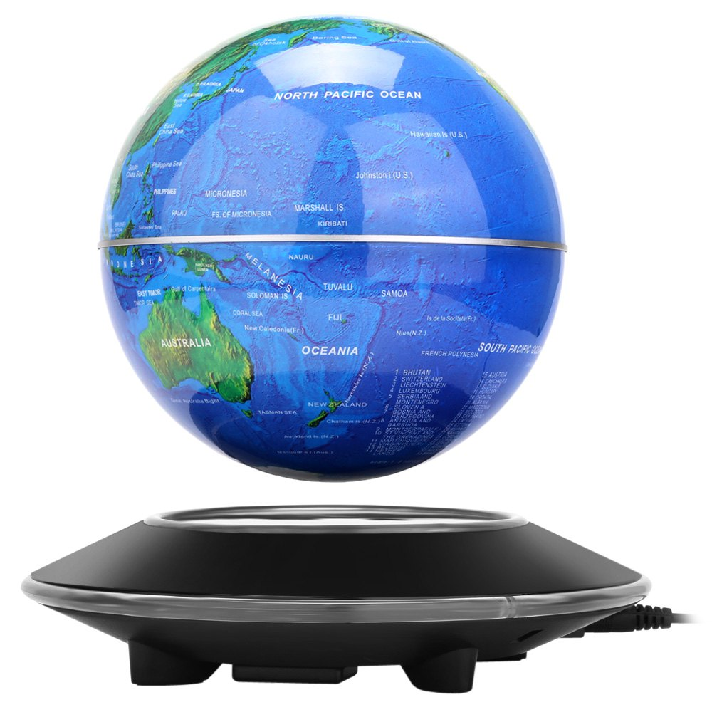 2018 novel magnetic levitation floating globe world map rotating novel magnetic levitation floating globe world map rotating display showcase decoration blueblack gumiabroncs Images