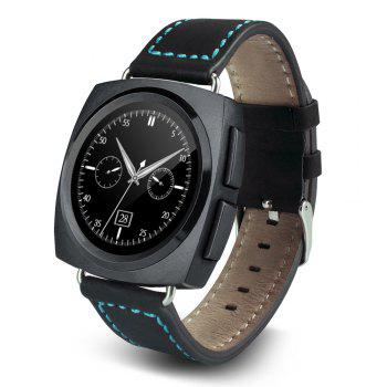 A11 Bluetooth 4.0 Heart Rate Monitor Smart Wristband Calendar Speaker Microphone Phonebook Watch - BLACK LEATHER BAND