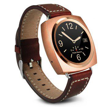 A11 Bluetooth 4.0 Heart Rate Monitor Smart Wristband Calendar Speaker Microphone Phonebook Watch - ROSE GOLD LEATHER BAND