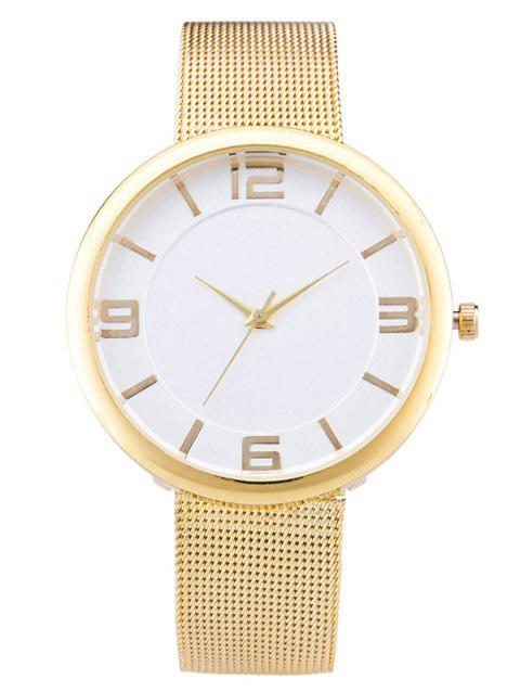Soft Flat Surface Mesh Belt Table Quartz Watch - CHAMPAGNE