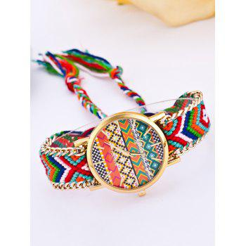 GENEVA Multicolor Geometric Pattern Quartz Braid Watch